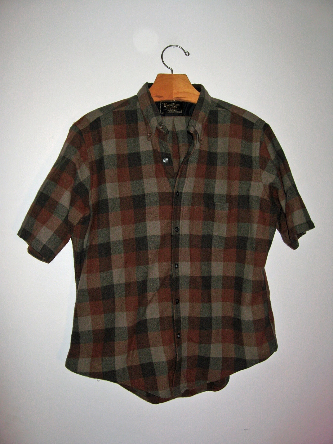 50s Flannel Shirt Mens L Wool Short Sleeved