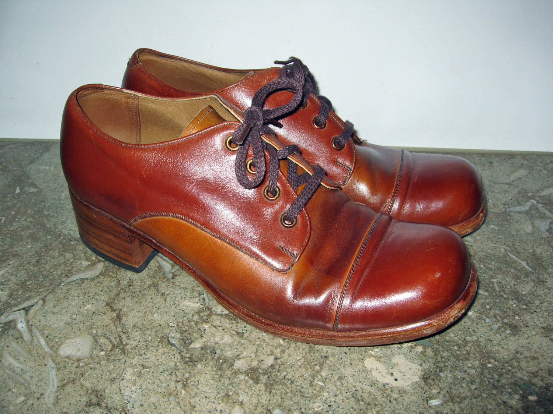 1970s Vintage Platform Shoes Disco Cognac Leather Mens 9 D