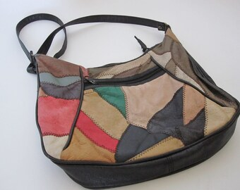 Vintage Leather Patchwork Handbag