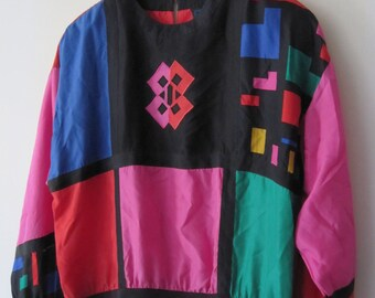 Vintage 100% Silk Bright Colour Block Blouse