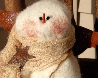 Angel Snowman Tree Topper|Christmas Tree Topper|Primitive Snowman Tree Topper