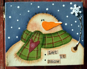 Let it Snow, Original Mixed-Media Snowman Painting