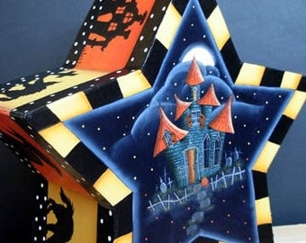 Haunted House Papier Mache Handpainted Box