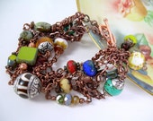 Greco Copper - Picasso and Gemstone Bracelet