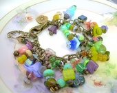 Flower Charm Bracelet - Mixed Bead and Antiqued Brass Boho