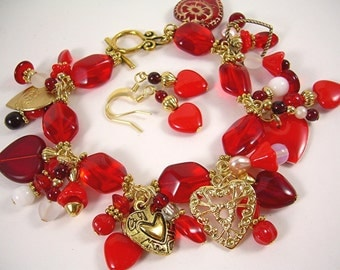 Hearts Desire - Valentine Charm Bracelet and Earrings