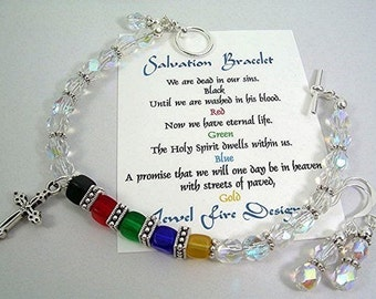 Crystal Salvation Bracelet With Czech Cube Beads Christian Jewelry Dangle Earrings