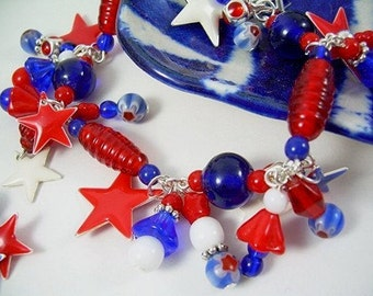 Czech Bead 4th of July Charm Bracelet With Red, White And Blue Beads Silver