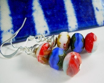 Sterling Drop Earrings Picasso Bead In Red White And Blue Sailing The Forth Of July Summer