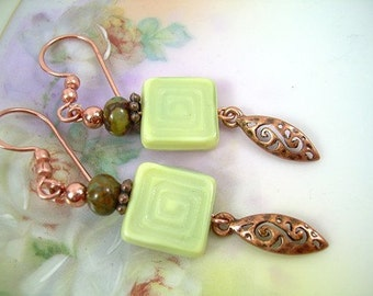 Cubism Green - Czech Bead Earrings