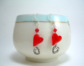 Hearts Delight - Swarovski Heart Crystal and Silver Earrings
