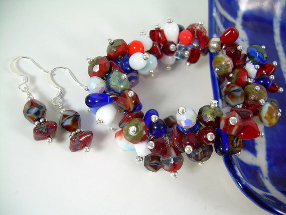 Sterling Silver & Picasso Bead Bracelet In Red White And Blue Boho Jewelry Earrings