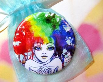 Spectra Rainbow Hair Girl Vanity Pocket Mirror