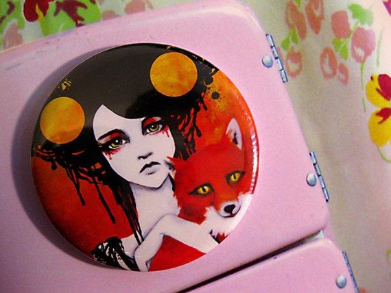 Fauna Goddess Fox Girl Round Art Magnet