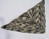 Hand Knit Bandana Scarf - Gray & White