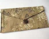 Fabric Envelope Pouch - Tan & Brown Floral