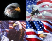 Lot Of 12 Patriotic Eagle Fabric Panel Quilt Squares