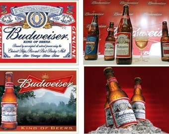 Lot Of 4 Budweiser Beer Fabric Panel Squares Blocks Quilt