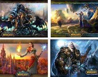 Lot Of 4 World Of Warcraft Fabric Panel Square Quilt Blocks