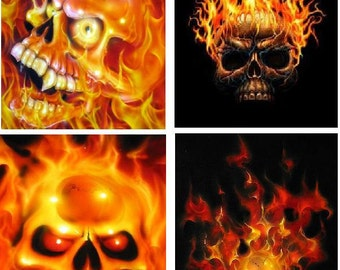 Lot Of 4 Flaming Skulls Fabric Panel Quilt Squares