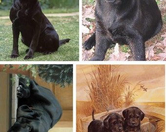 Lot Of 4 Black Lab Dog Fabric Panel Quilt Squares