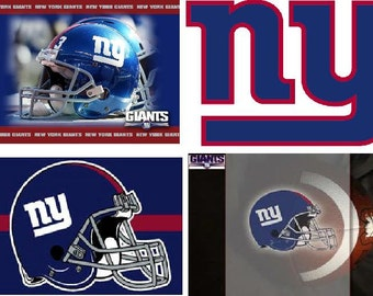 Lot Of 4 NY Giants Football Fabric Panel Quilt Squares