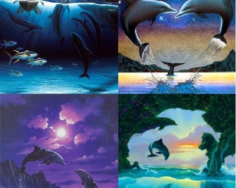 Lot Of 4 Fantasy Dolphins Fabric Panel Quilt Squares
