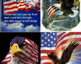 Lot Of 12 Patriotic Eagle LOOK Fabric Panel Quilt Squares