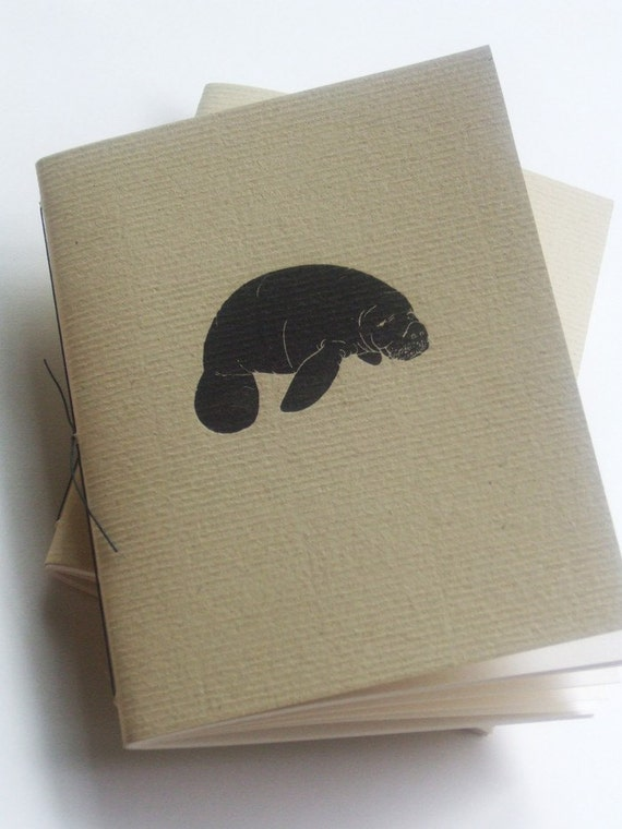 Manatee Blank Letterpress Notebook Hand Bound