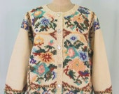 Hand Knit Floral Cardigan with Abalone Shell Buttons