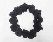 12 Handmade Silk Scrunchies (Solid Black Bundle)