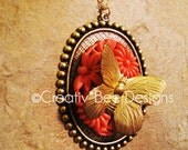 Large Butterfly Garden Vintage Necklace