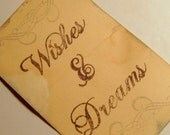 wishes and dreams tags, guest book, silver flourish, coffee stained, set 10