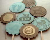 vintage cupcake toppers, baby shower, boy, brown and blue rustic, set of 16