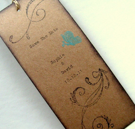 save the date bookmark rustic wedding hand typed vintage