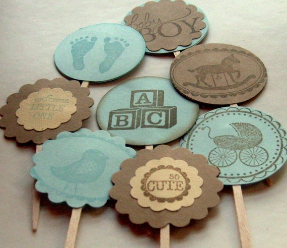 vintage cupcake toppers baby shower boy brown and blue rustic set