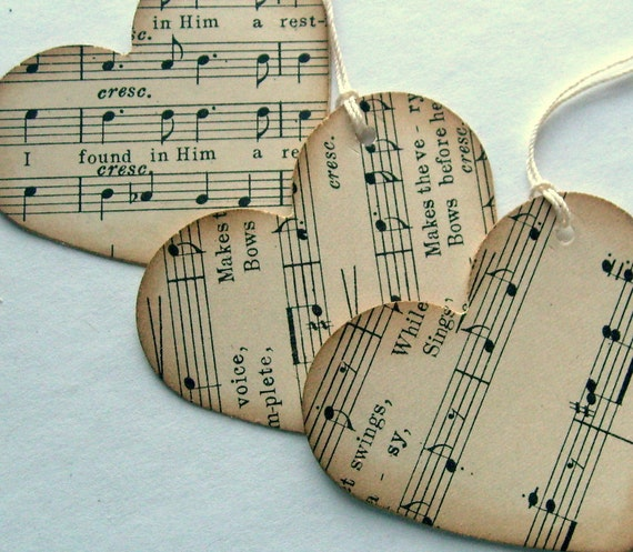 Heart favor tags, recycled music sheets, rustic, blank back, set of 12