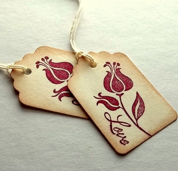 Miniature favor tags, napkin ring ties, flower love, sepia rustic, rose bud, RESERVED for Jaime