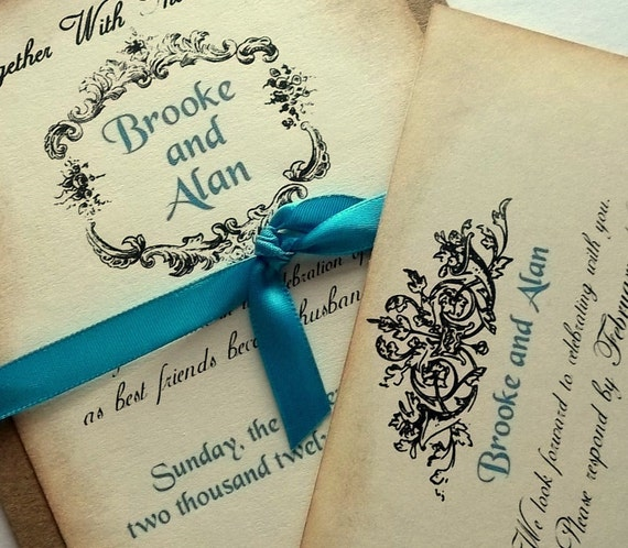Rustic Scroll: Items Similar To Rustic Wedding Invitation Suite, Vintage