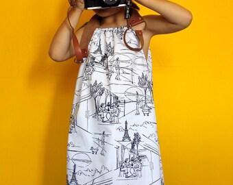 Toddler and girls dress. Color me Paris dress.