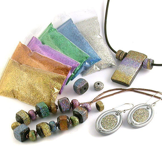 Microfine Faux Dichroic Holographic Glitter Kit for Polymer Clay Bead & Jewellery Making, Scrapbooking, Nail Art, Resin, Fimo etc