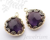FS070-G-AM // Gold Framed Amethyst Faceted Onion Drop Glass Stone Pendant, 2 Pc