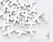 "PD198-X-MR // Matte Original Rhodium Plated Small ""X"" Pendant, 5mm x 7mm, 4Pc"