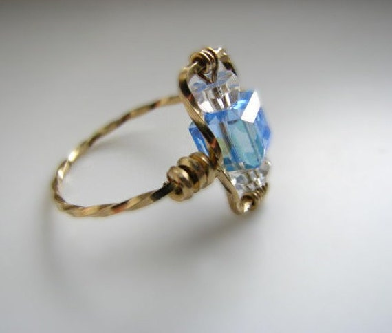 Gold and Light Blue Sapphire Swarovski Crystal Ring - Size 8.25
