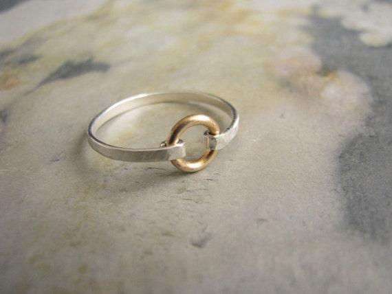 Circle and Band Ring of Sterling Silver and Brass Size 6