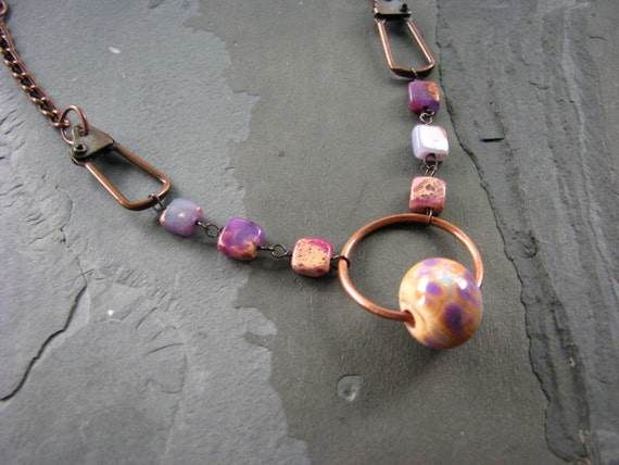 Purple Lampwork and Hook Necklace