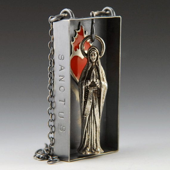 Sacred Fire Sacred Heart - Mary - Sterling silver, resin and found mary necklace
