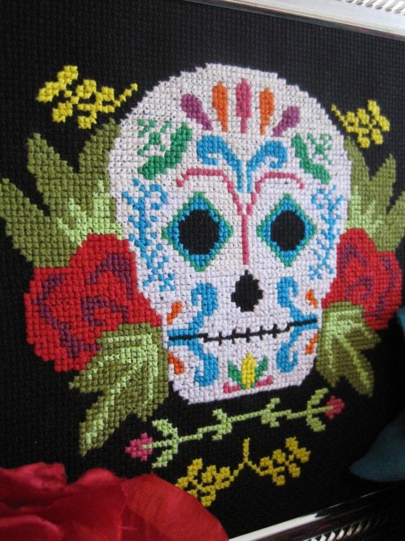 Pattern - Dia de los Muertos Mexican Sugar Skull Cross Stitch Chart PDF