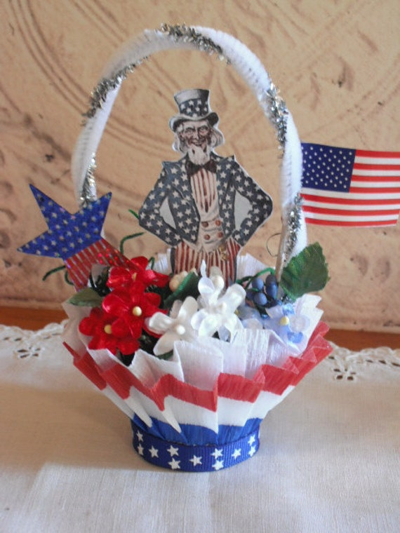 PATRIOTIC Vintage Style nut cup- Candy cup - UNCLE SAM
