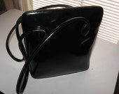 60s vintage oversize patent leather  vinyl structured handbag